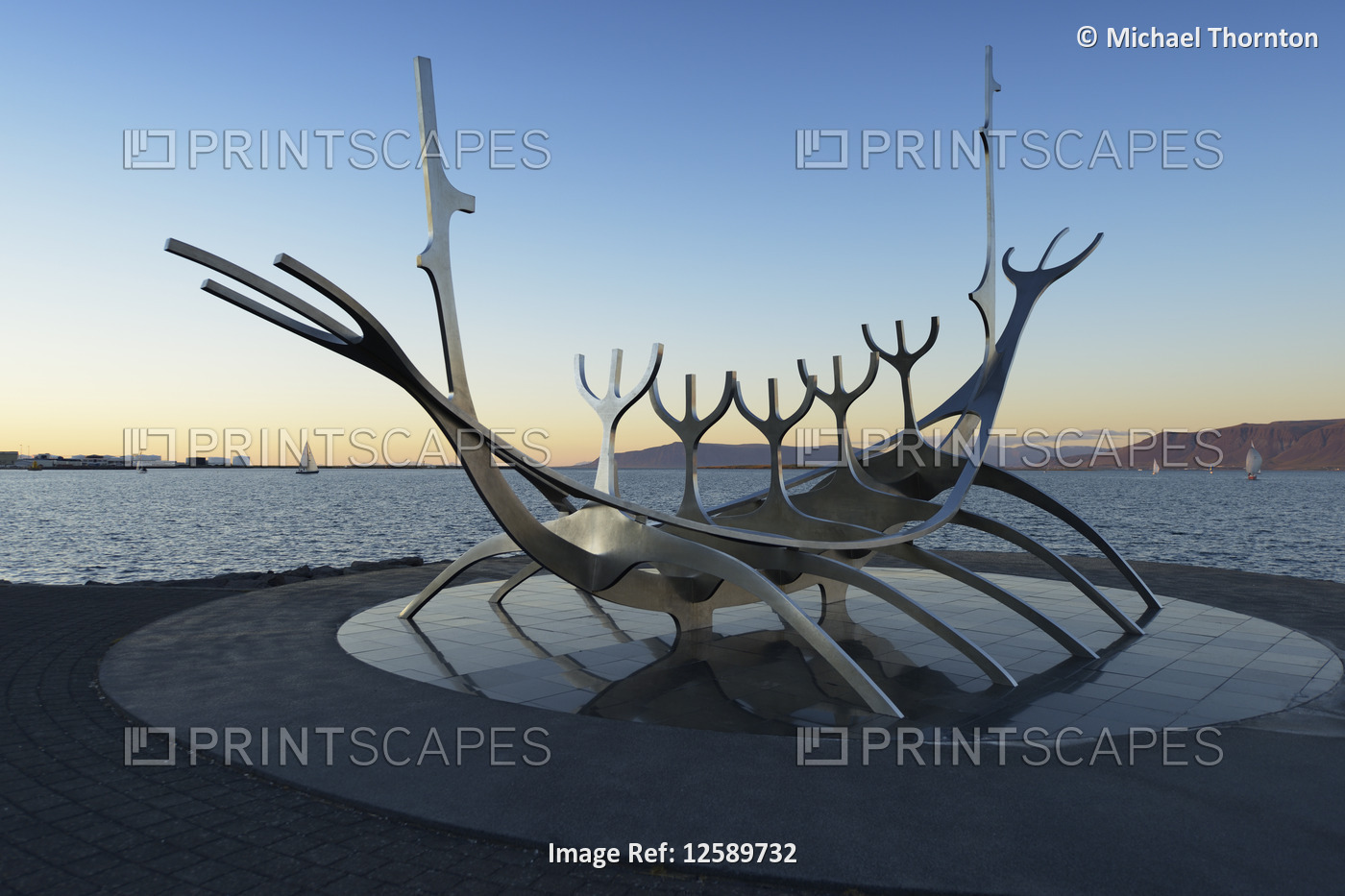 Solfar Sculpture on Saebraut, designed to resemble a Viking Ship, Reykjavik ...